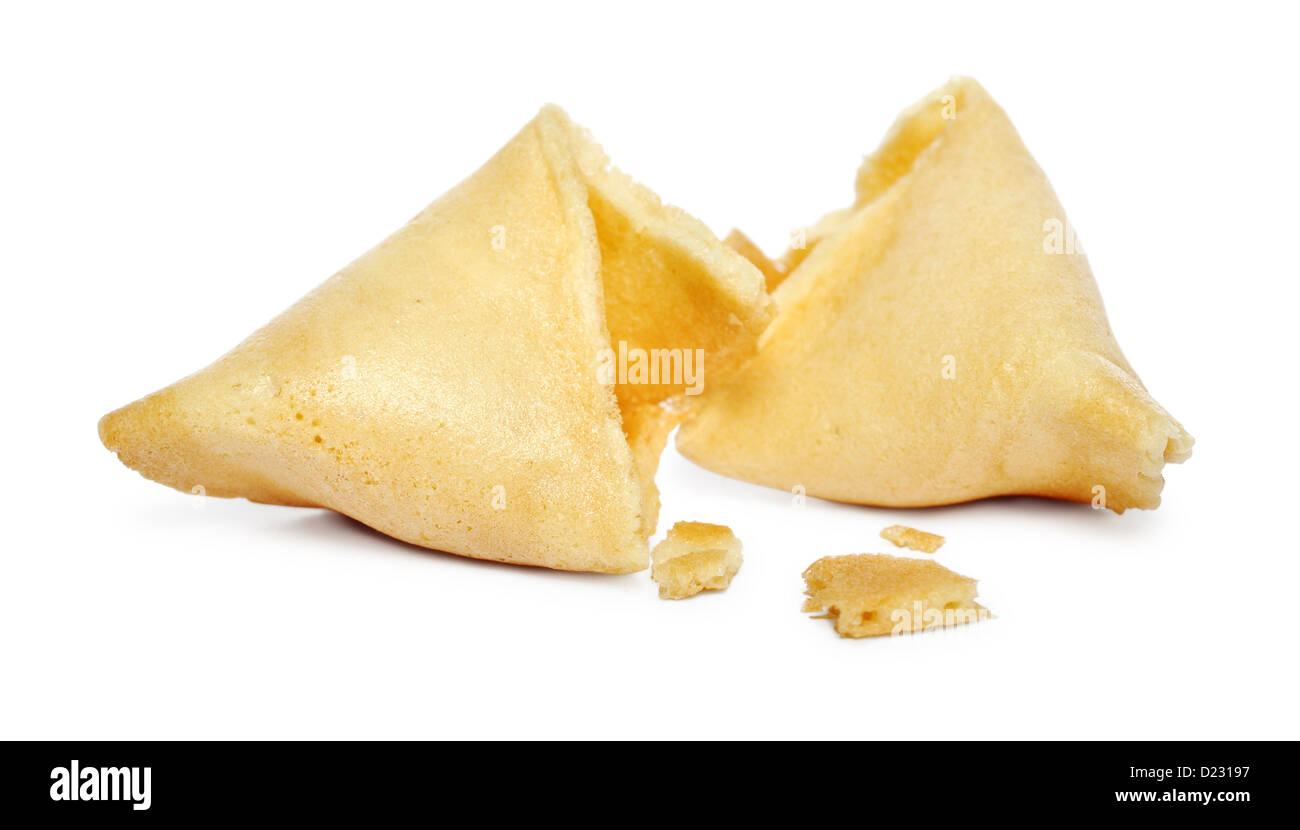 Broken Fortune cookie isolated on white background - Stock Image