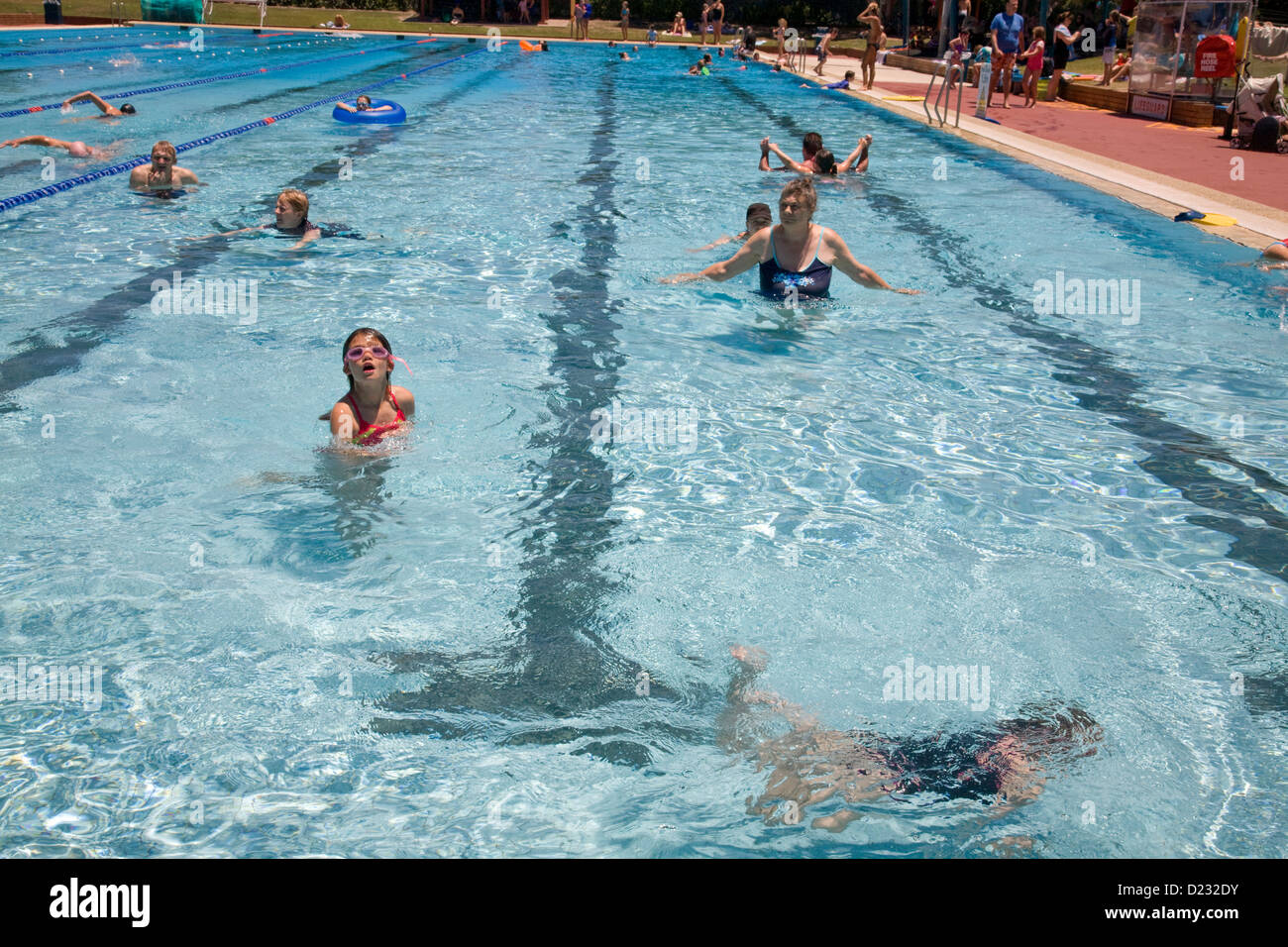 Manly open air swimming pool , enjoyed on a very hot sydney day,australia - Stock Image