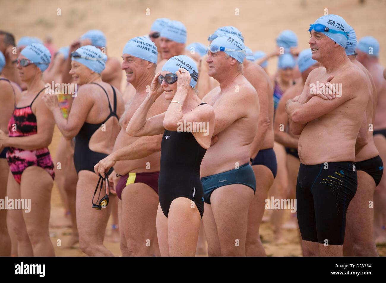 swimmers prepare for the start of the avalon beach ocean swim race,avalon,sydney,australia - Stock Image