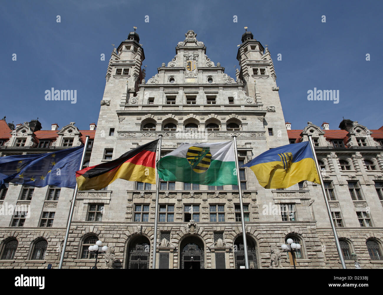 Leipzig Germany New Town Hall Leipzig And Flags Stock Photo Alamy