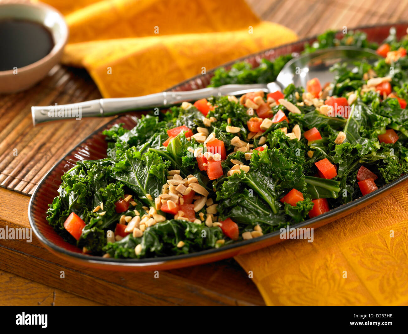 Red Bell Pepper Kale Salad Stock Photo 52929114 Alamy