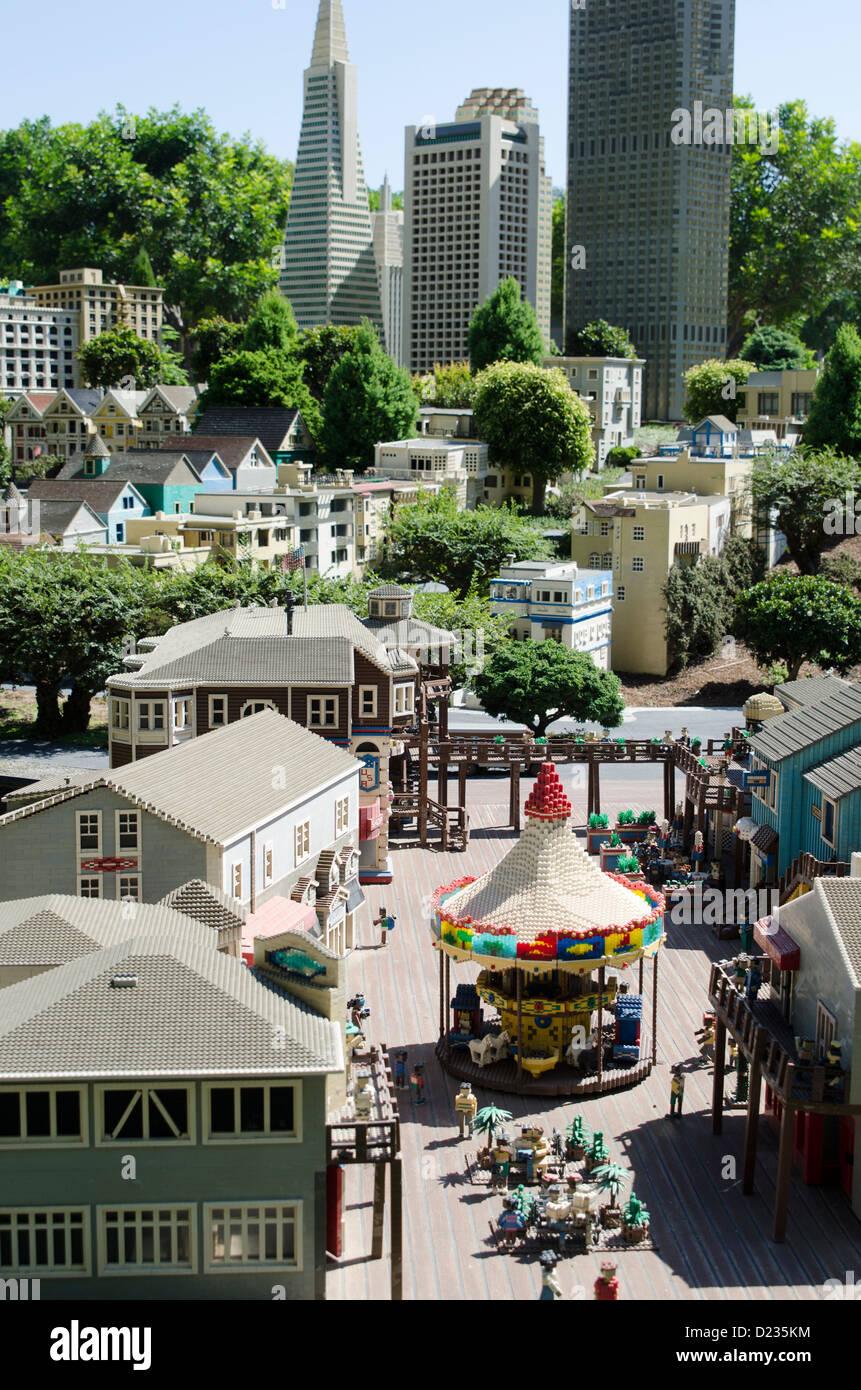 A scene from Miniland San Francisco, Legoland California Resort amusement theme park, San Diego, California, USA Stock Photo