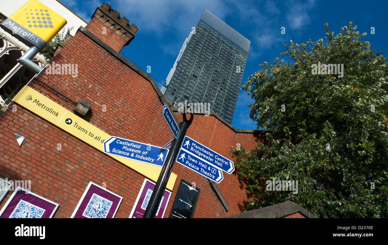 Manchester street signs England UK Stock Photo