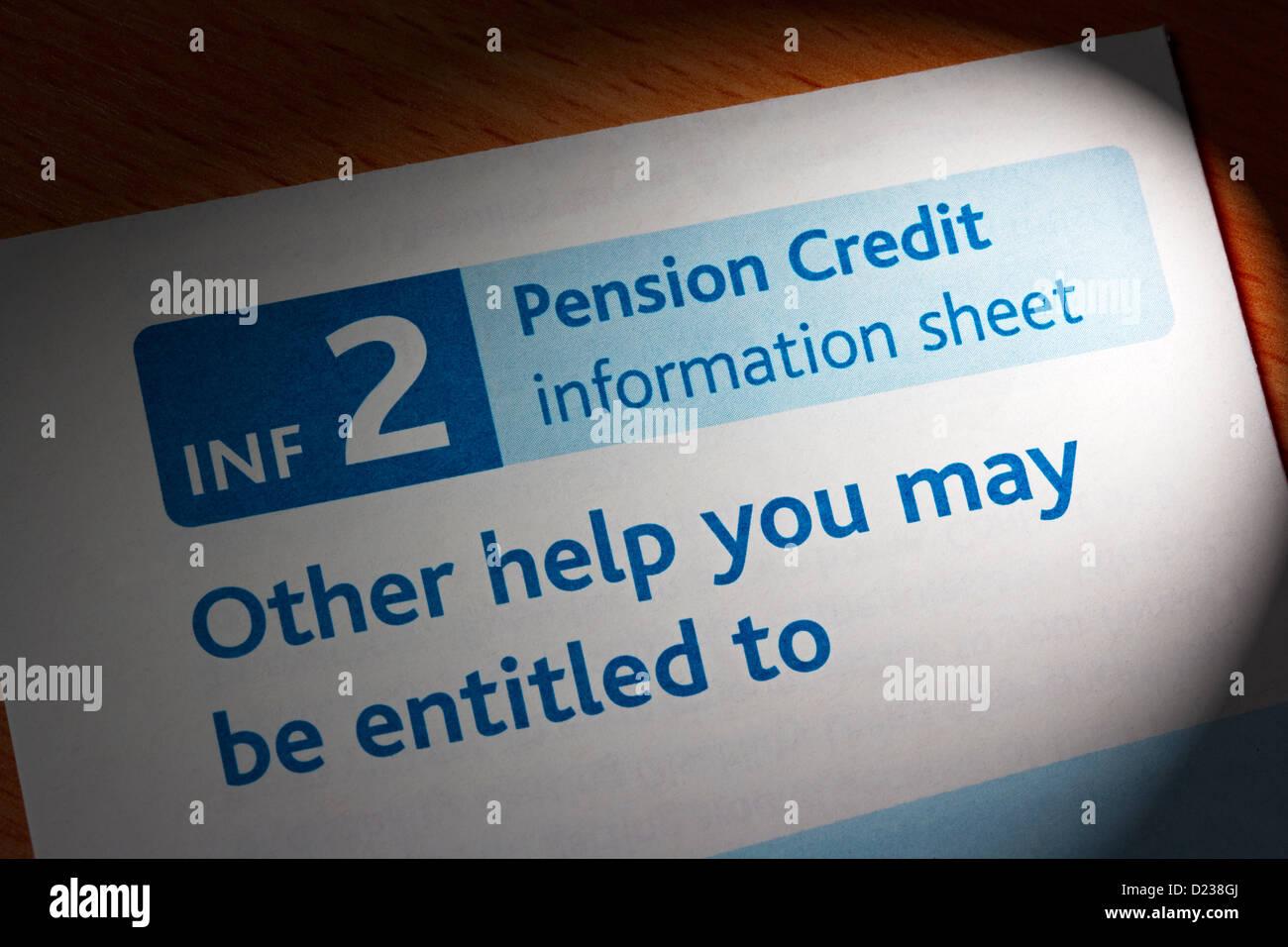 Pension Credit information sheet - Stock Image