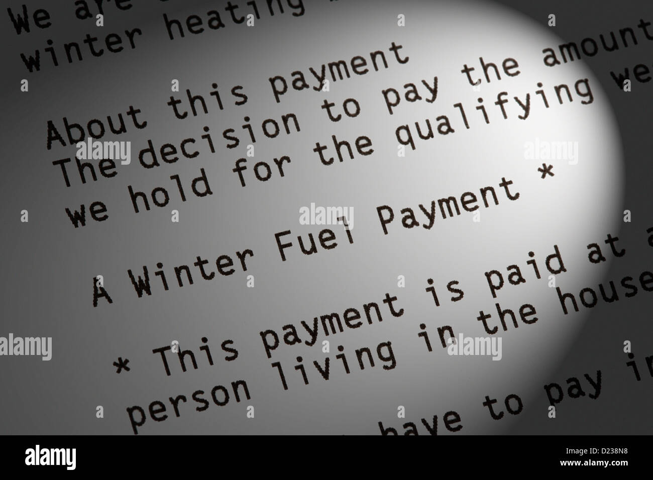 Winter Fuel payment letter - Stock Image