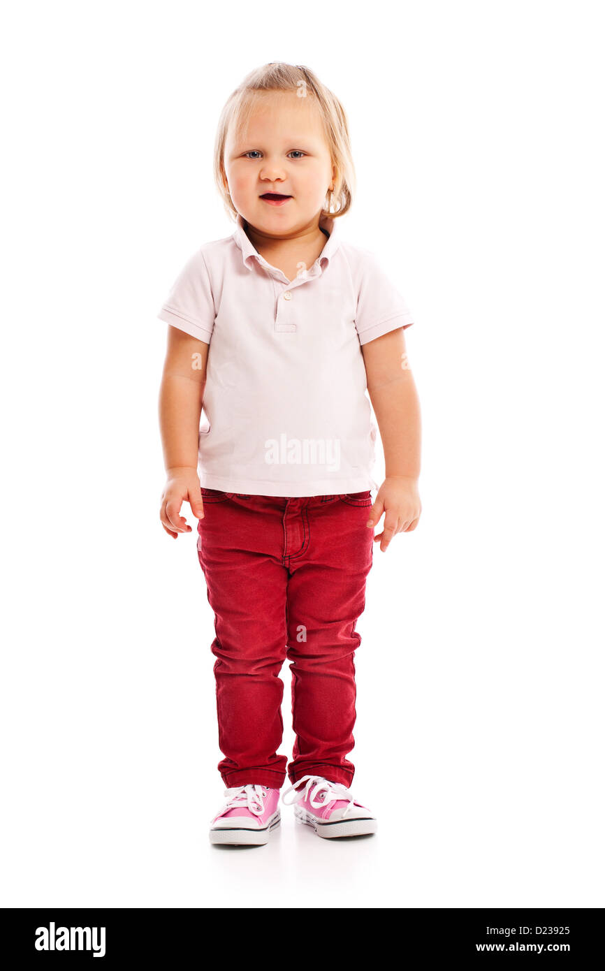 the happy little child posing in studio - Stock Image