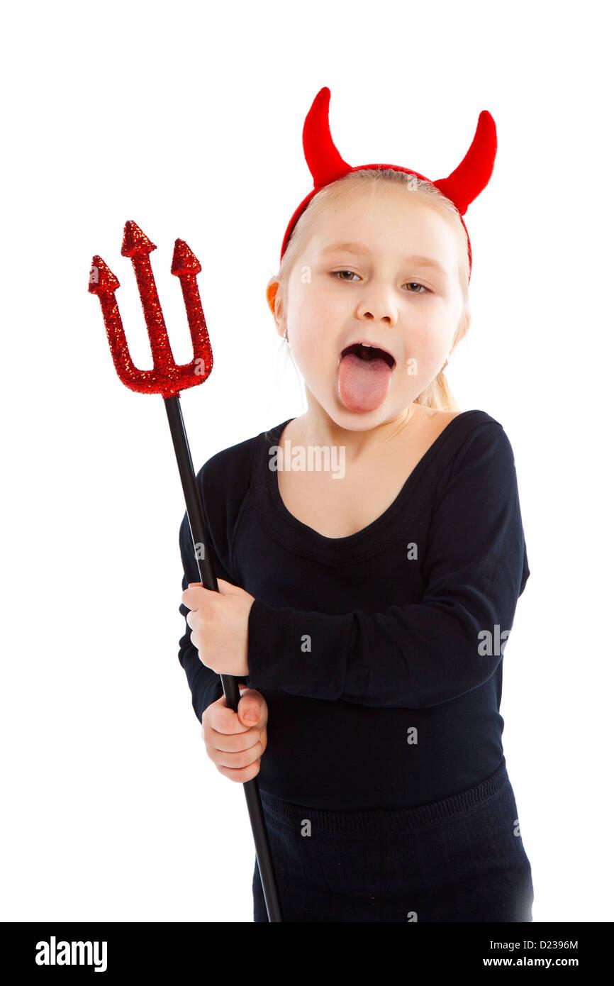 Little girl in devil costume. Studio shot. - Stock Image
