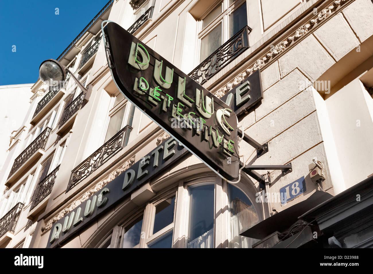 PARIS, FRANCE: The famous Duluc Detective Agency at 18, Rue du Louvre Paris. - Stock Image