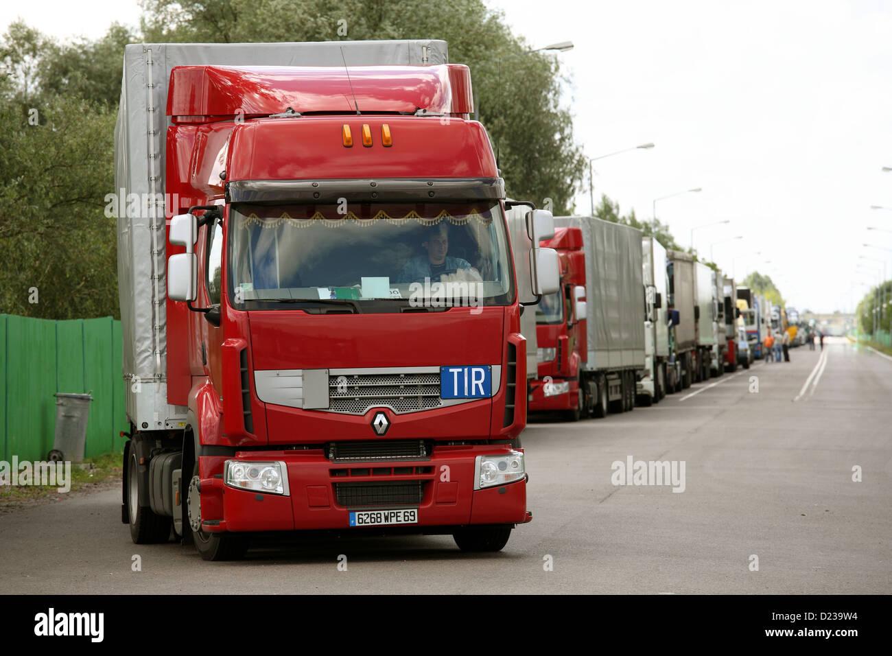 Koroszczyn, Poland, trucks for export from the truck terminal Koroszczyn Stock Photo