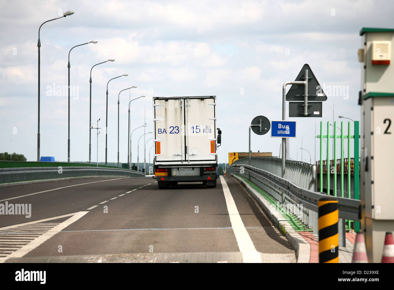Koroszczyn, Poland, truck crosses the border at the bow after the customs control Stock Photo