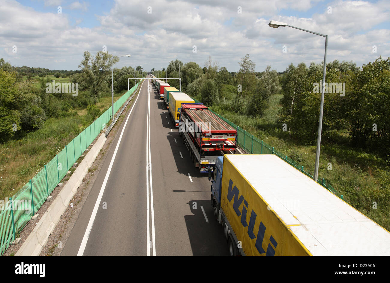 Koroszczyn, Poland, trucks wait for clearance for exports - Stock Image