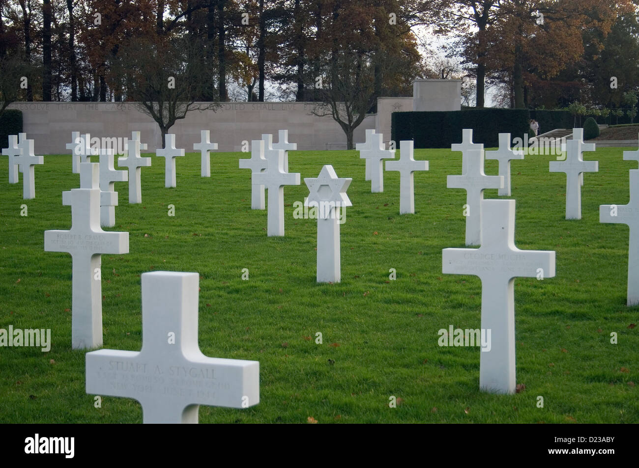 White stone crosses in a military cemetery in Cambridge, UK