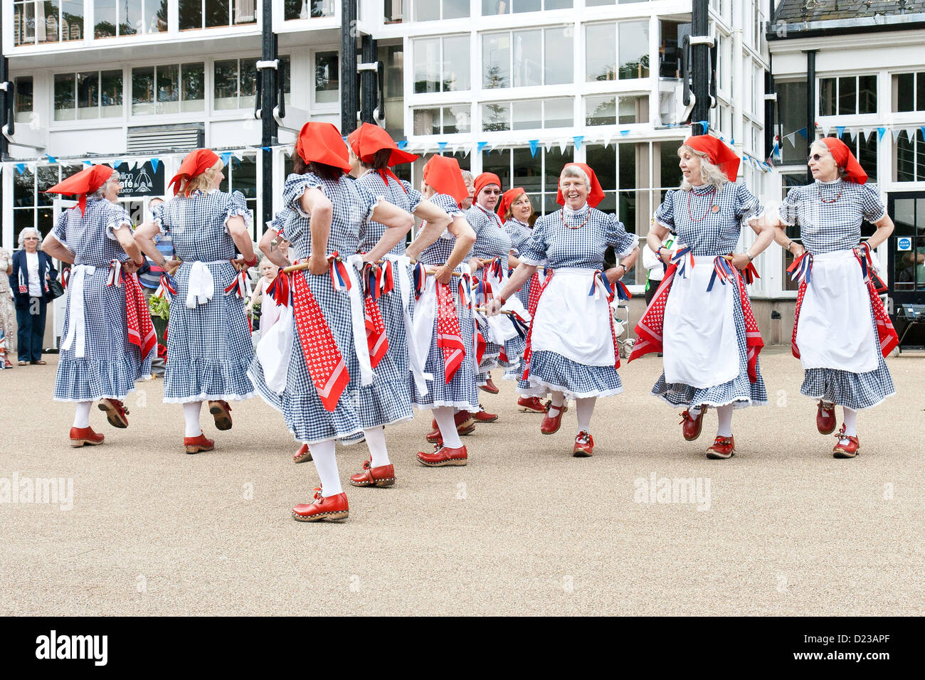 Buxton Day of dance 2012 with female morris dancers - Stock Image