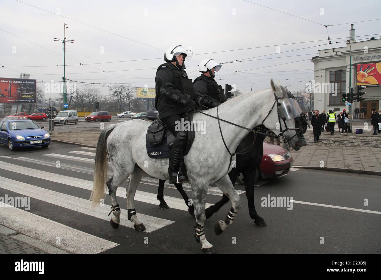 Poznan, Poland, police squadron of riot police - Stock Image