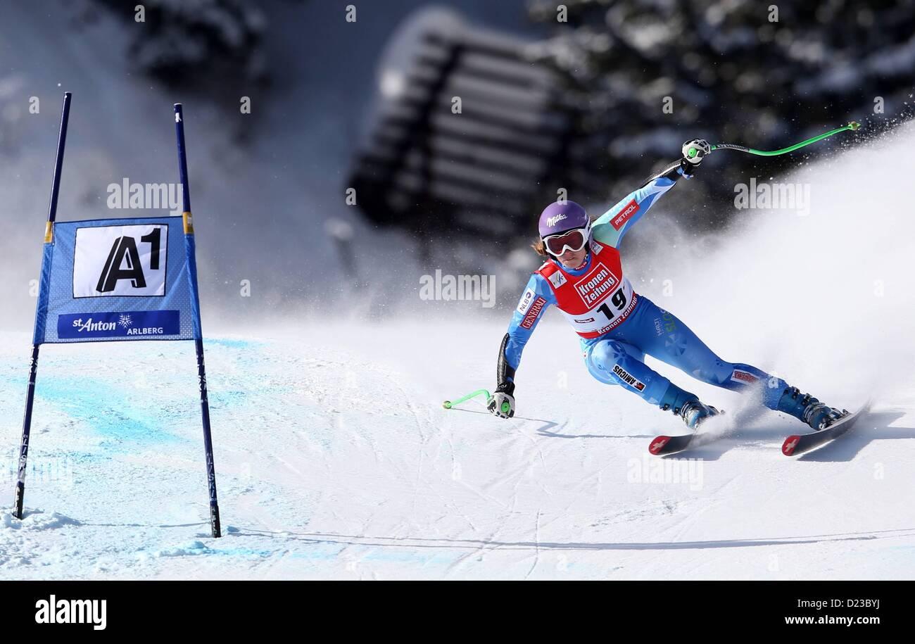 St Anton, Austria. 13th Jan, 2013.   Ski Alpine FIS World Cup Super G for women Picture shows Tina Maze SLO - Stock Image