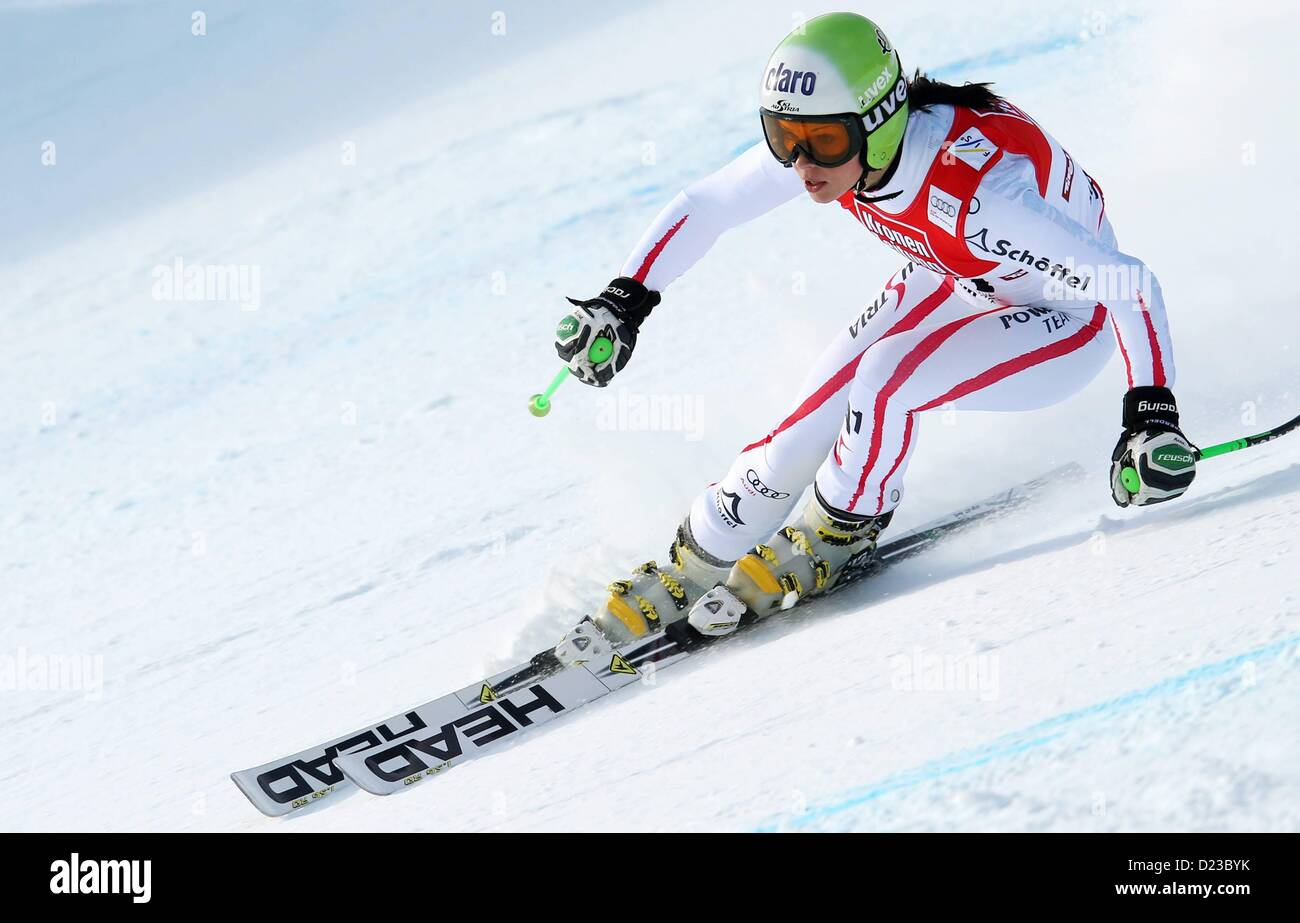 St Anton, Austria. 13th Jan, 2013.   Ski Alpine FIS World Cup Super G for women Picture shows Anna Fenninger AUT - Stock Image