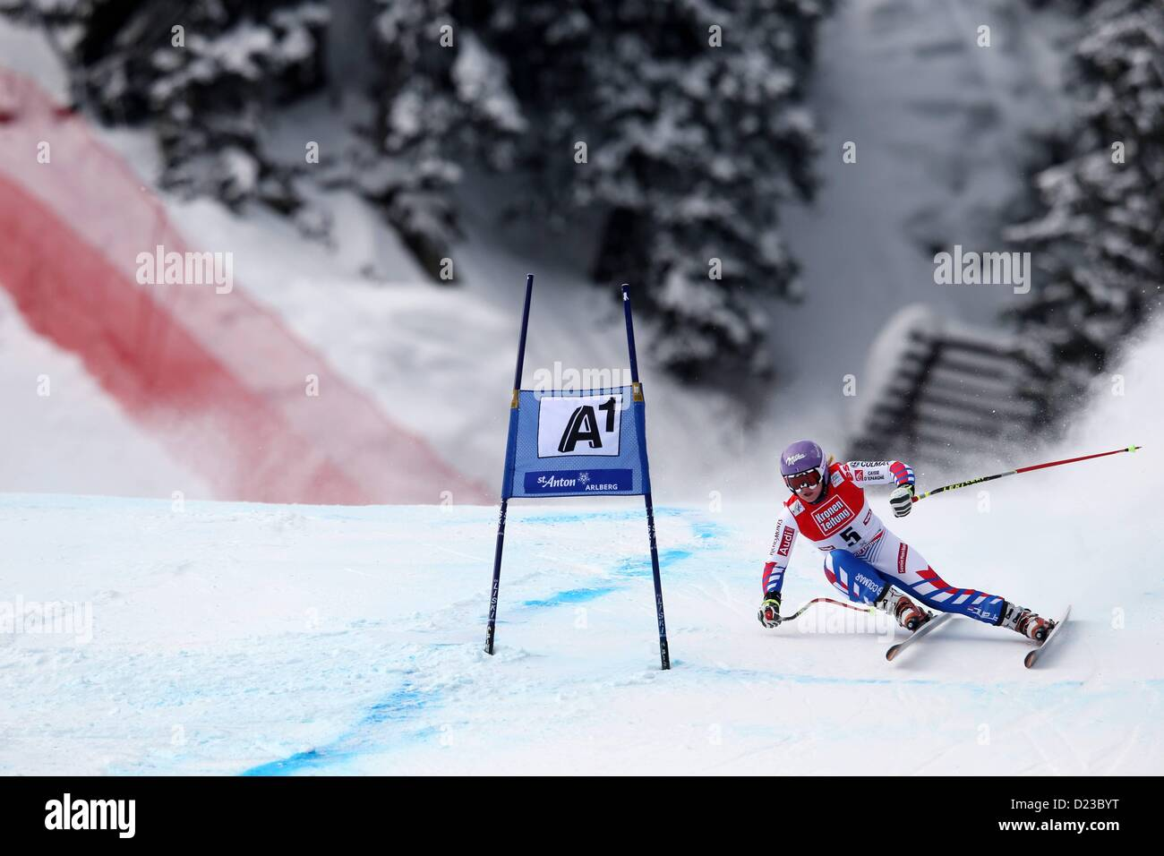 St Anton, Austria. 13th Jan, 2013.   Ski Alpine FIS World Cup Super G for women Picture shows Tessa Worley FRA - Stock Image
