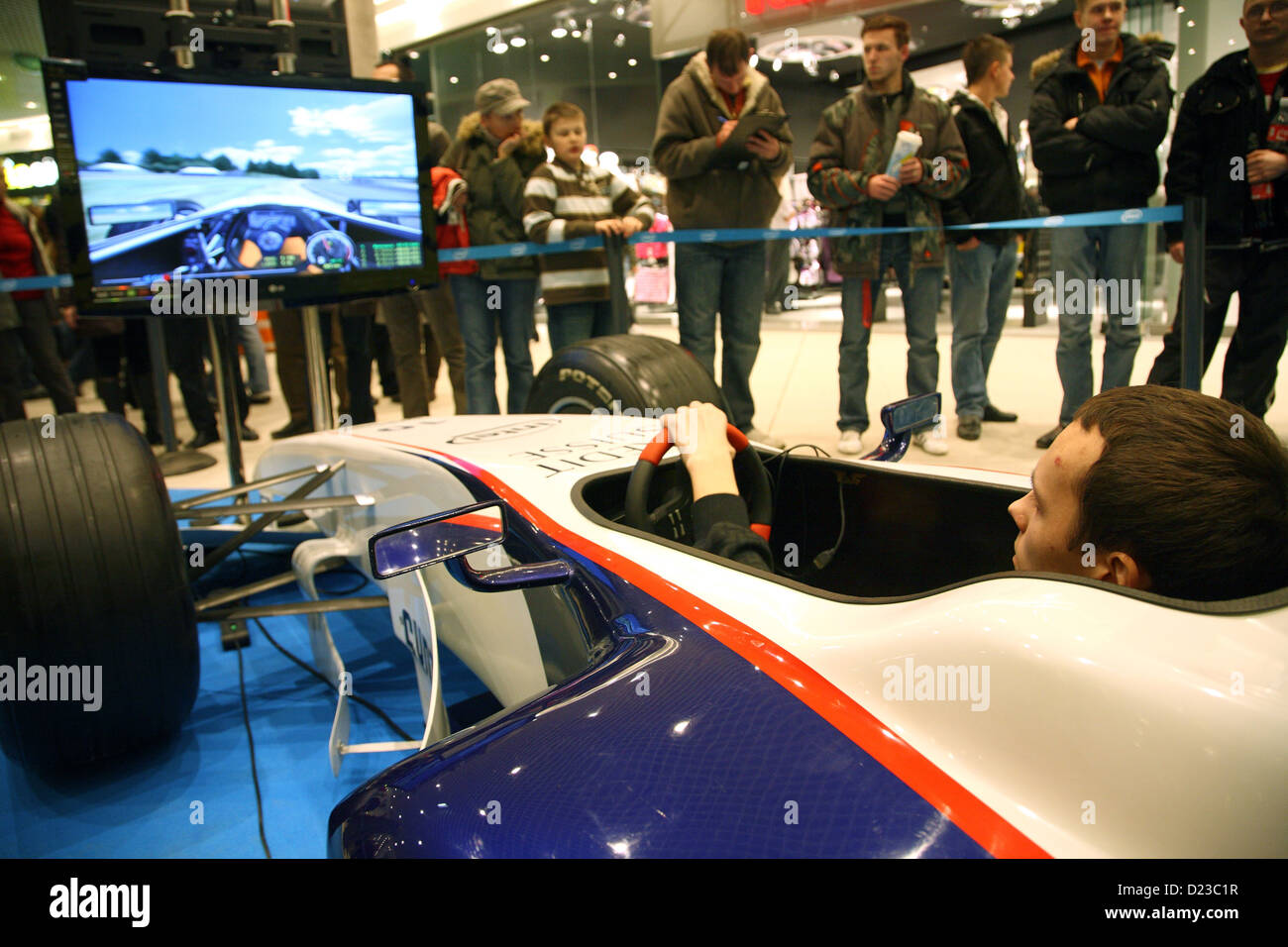 Poznan, Poland, a young man in an F1 simulator Stock Photo