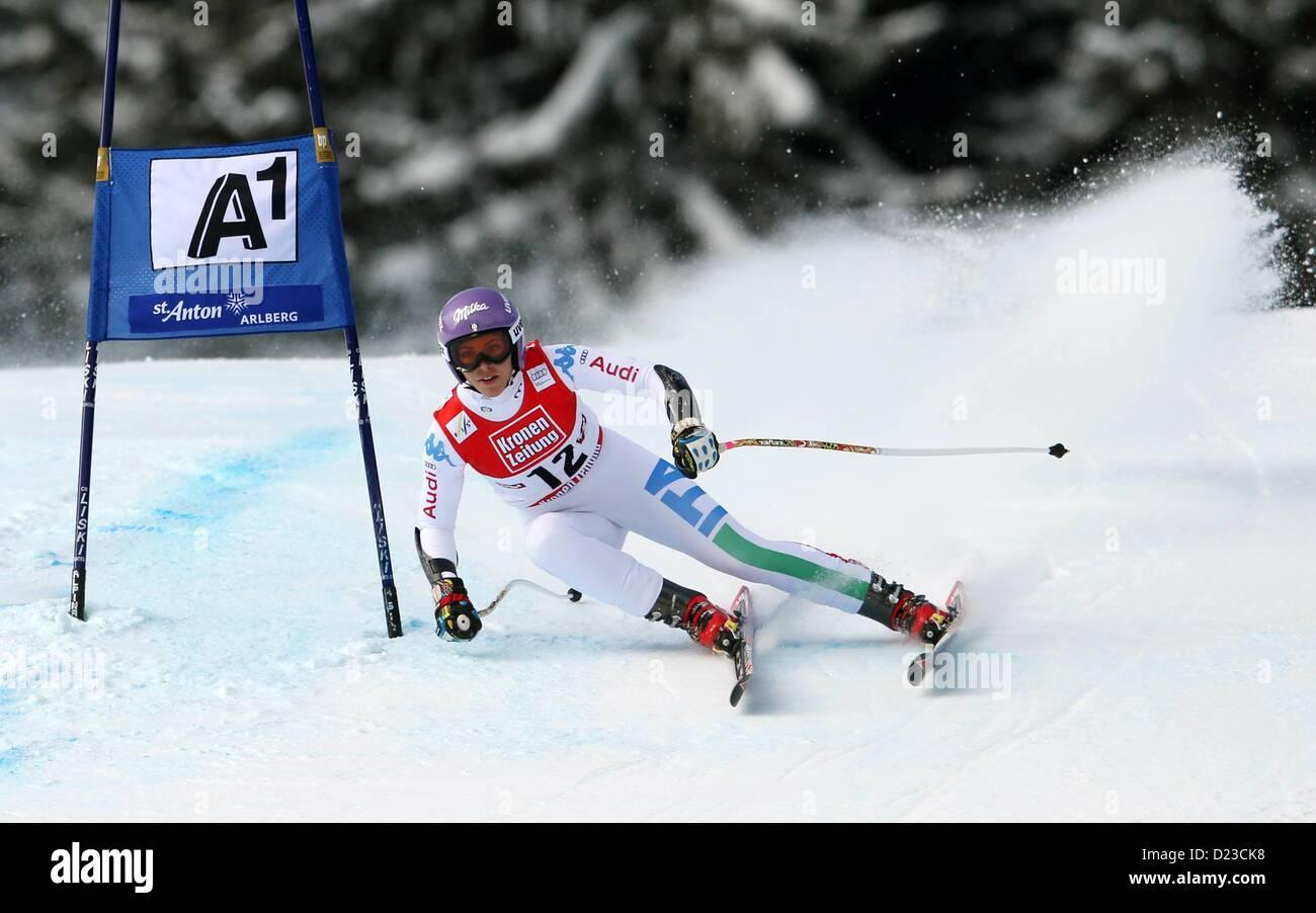 St Anton, Austria. 13th Jan, 2013.   Ski Alpine FIS World Cup Super G for women Picture shows Elena Curtoni ITA - Stock Image