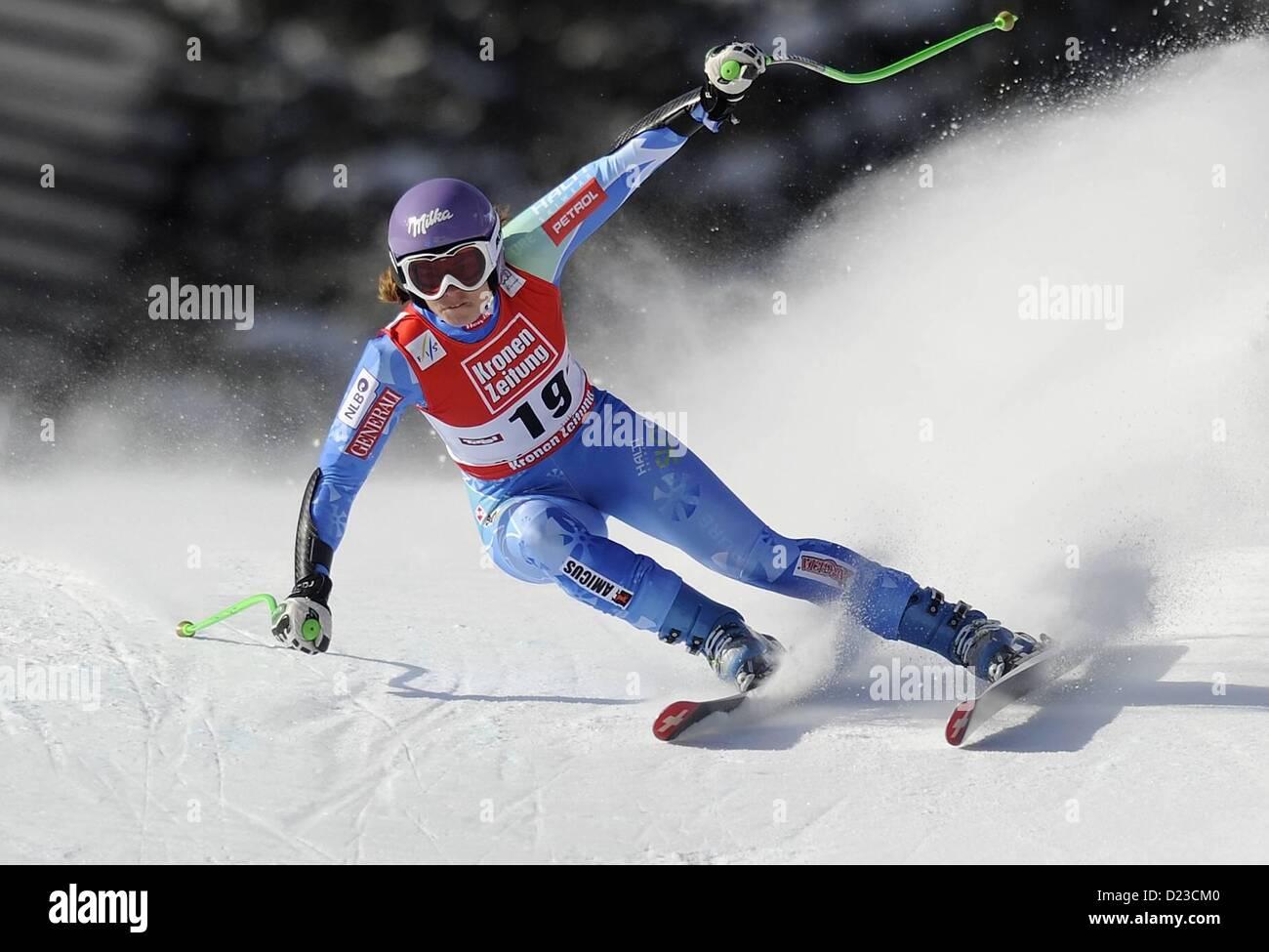 St Anton, Austria. 13th Jan, 2013.   Ski Alpine FIS World Cup Super G for women Tina Maze SLO - Stock Image