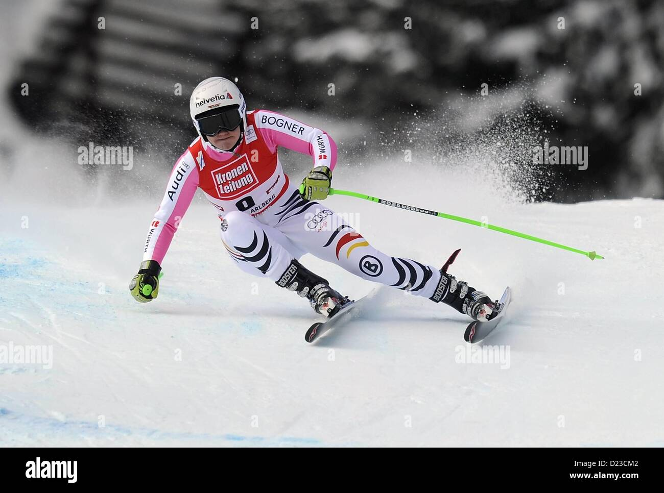 St Anton, Austria. 13th Jan, 2013.   Ski Alpine FIS World Cup Super G for women Viktoria Vinecastle ger - Stock Image