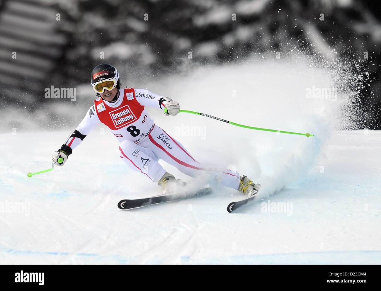 St Anton, Austria. 13th Jan, 2013.   Ski Alpine FIS World Cup Super G for women Elisabeth Goergl AUT - Stock Image