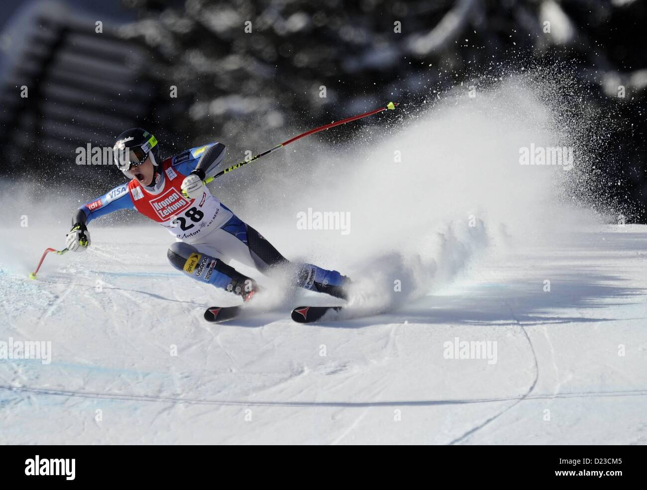 St Anton, Austria. 13th Jan, 2013.   Ski Alpine FIS World Cup Super G for women Laurenne Ross USA - Stock Image