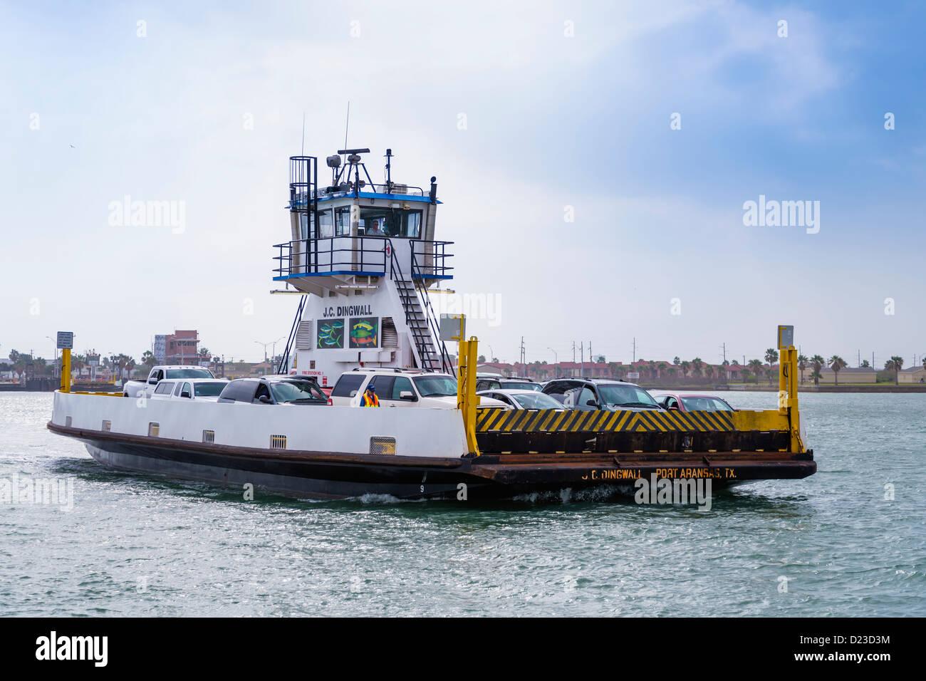 Ferry from Port Aransas, Mustang Island to Aransas Pass, Texas, USA - Stock Image