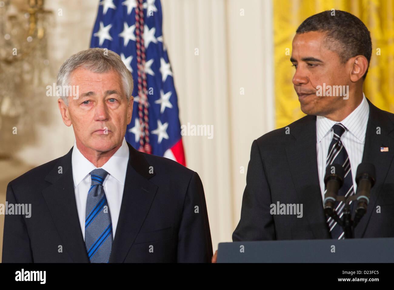 President Barack Obama nominates Chuck Hagel or Secretary of Defense.  - Stock Image