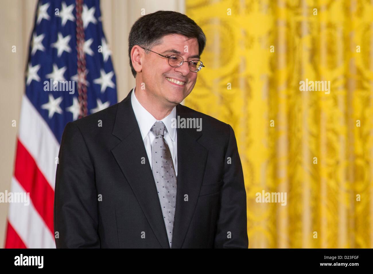 President Barack Obama nominates Jack Lew for Secretary of the Treasury. - Stock Image