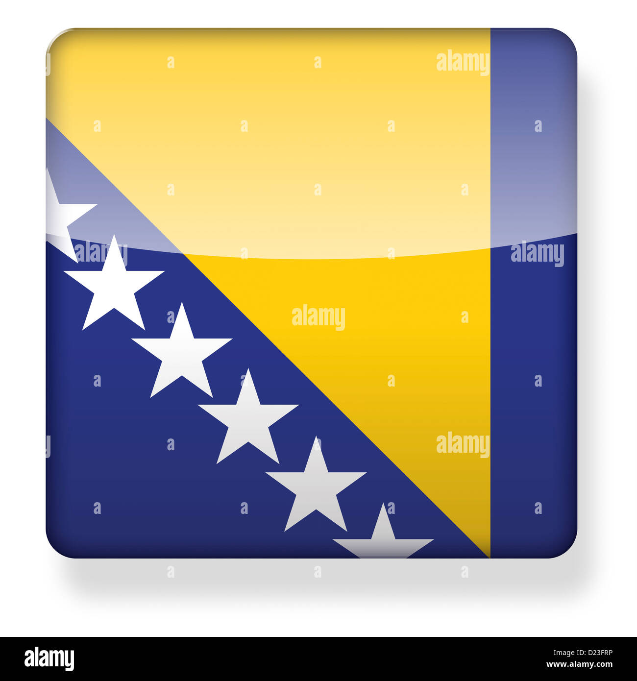 Bosnia Herzegovina flag as an app icon. Clipping path included. - Stock Image