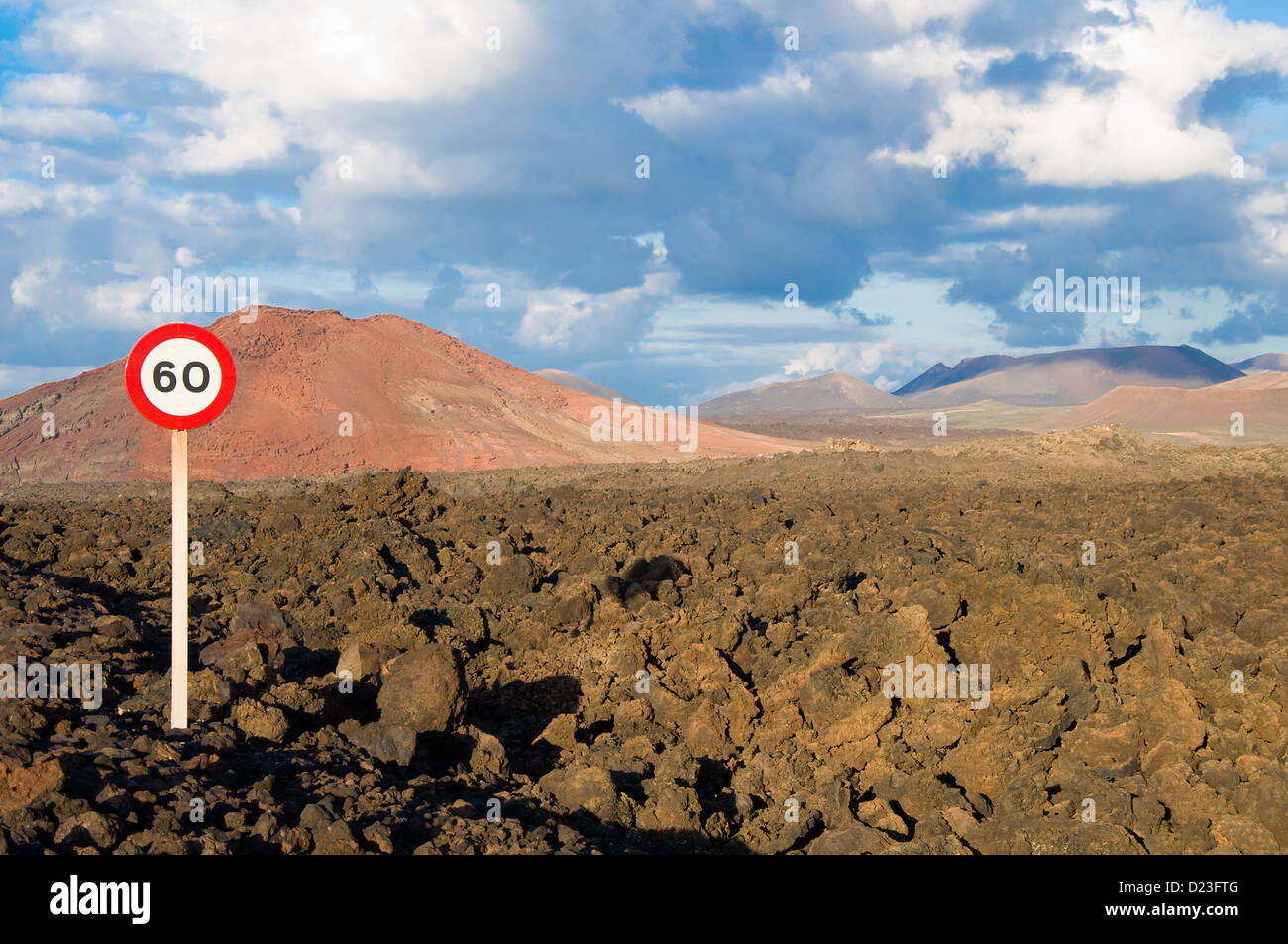 Lava Field, Lanzarote, Canary Islands, Spain - Stock Image