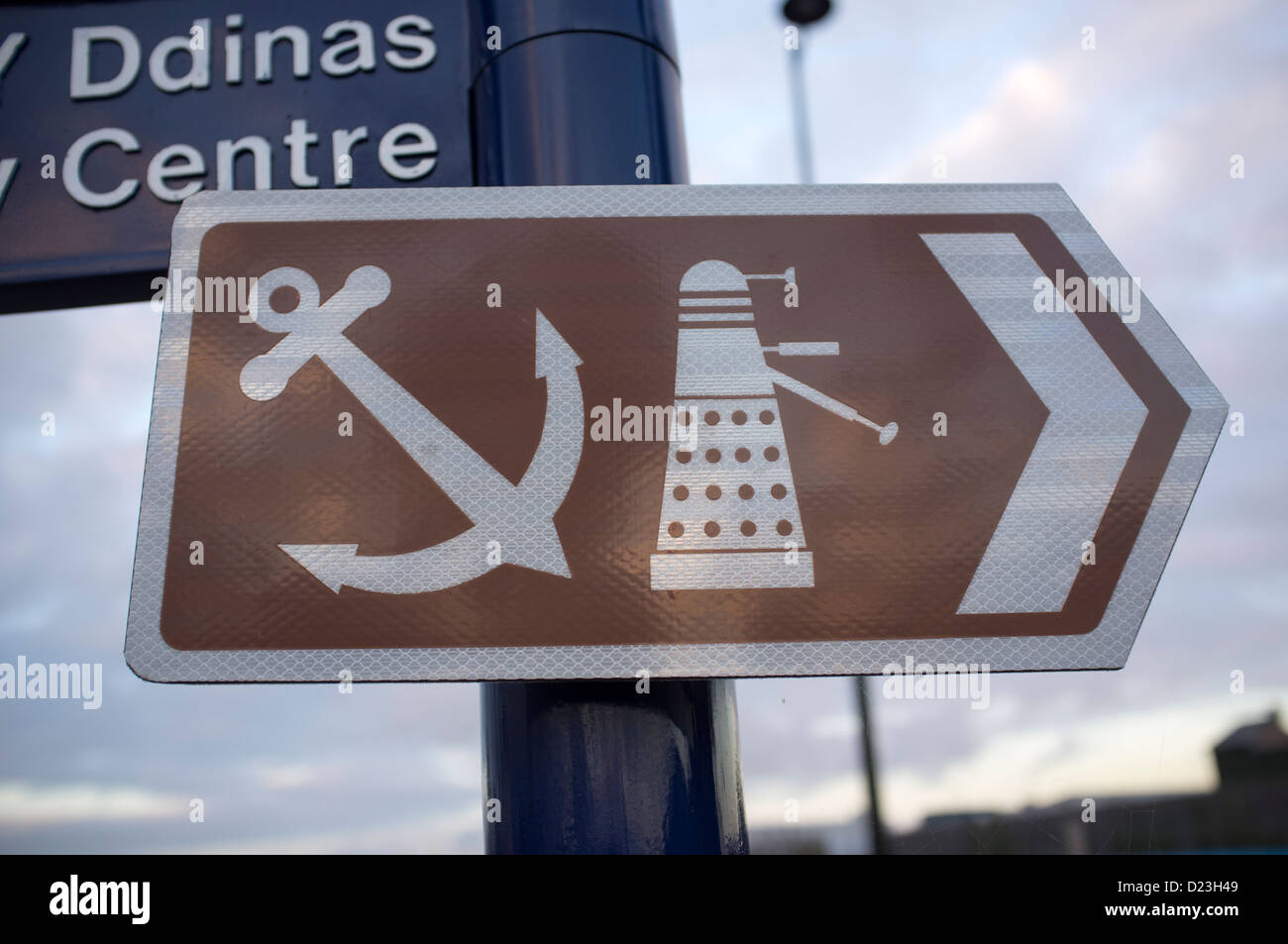Attraction Sign Post Cardiff Bay - Stock Image
