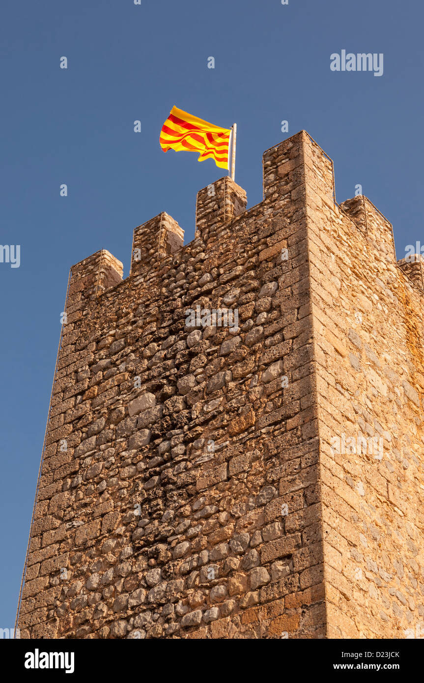 The flag of Catalonia flying in Spain - Stock Image