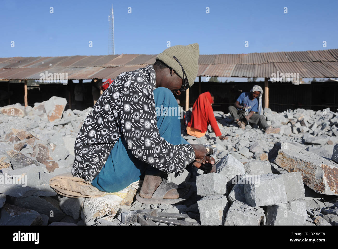 Mangudo, Ethiopia, they handled stones for road construction - Stock Image