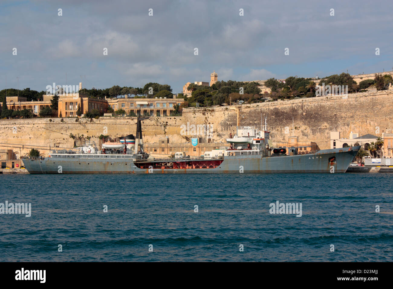 The Russian Navy tanker Lena in Malta - Stock Image