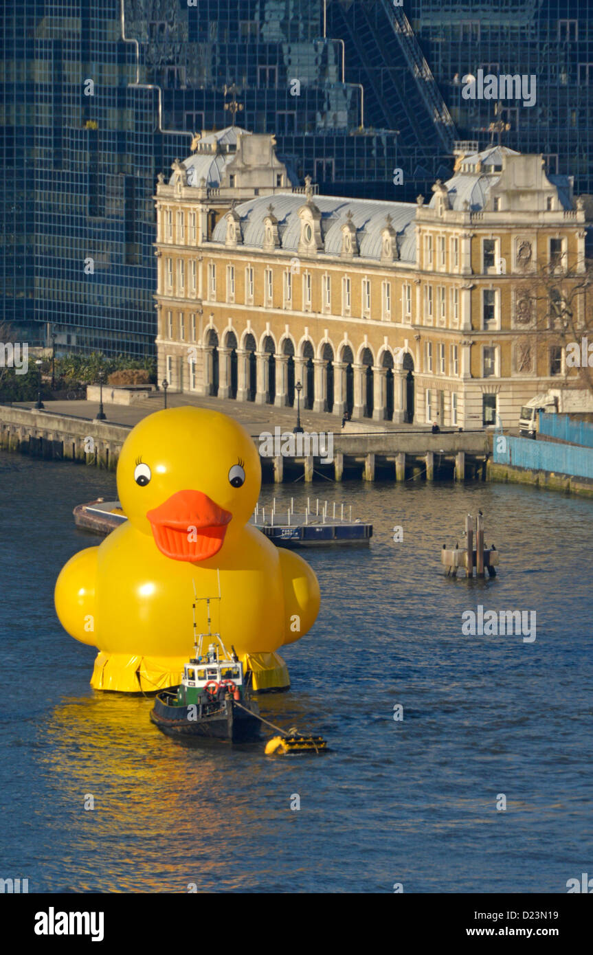 Promotion publicity stunt London with yellow duck on River Thames - Stock Image
