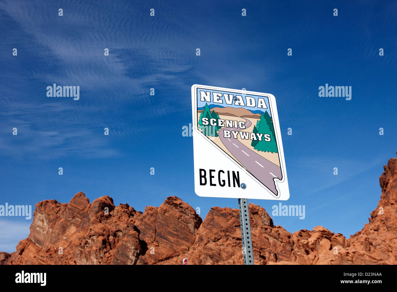nevada scenic byways begin signpost on the white domes road valley of fire state park nevada usa - Stock Image
