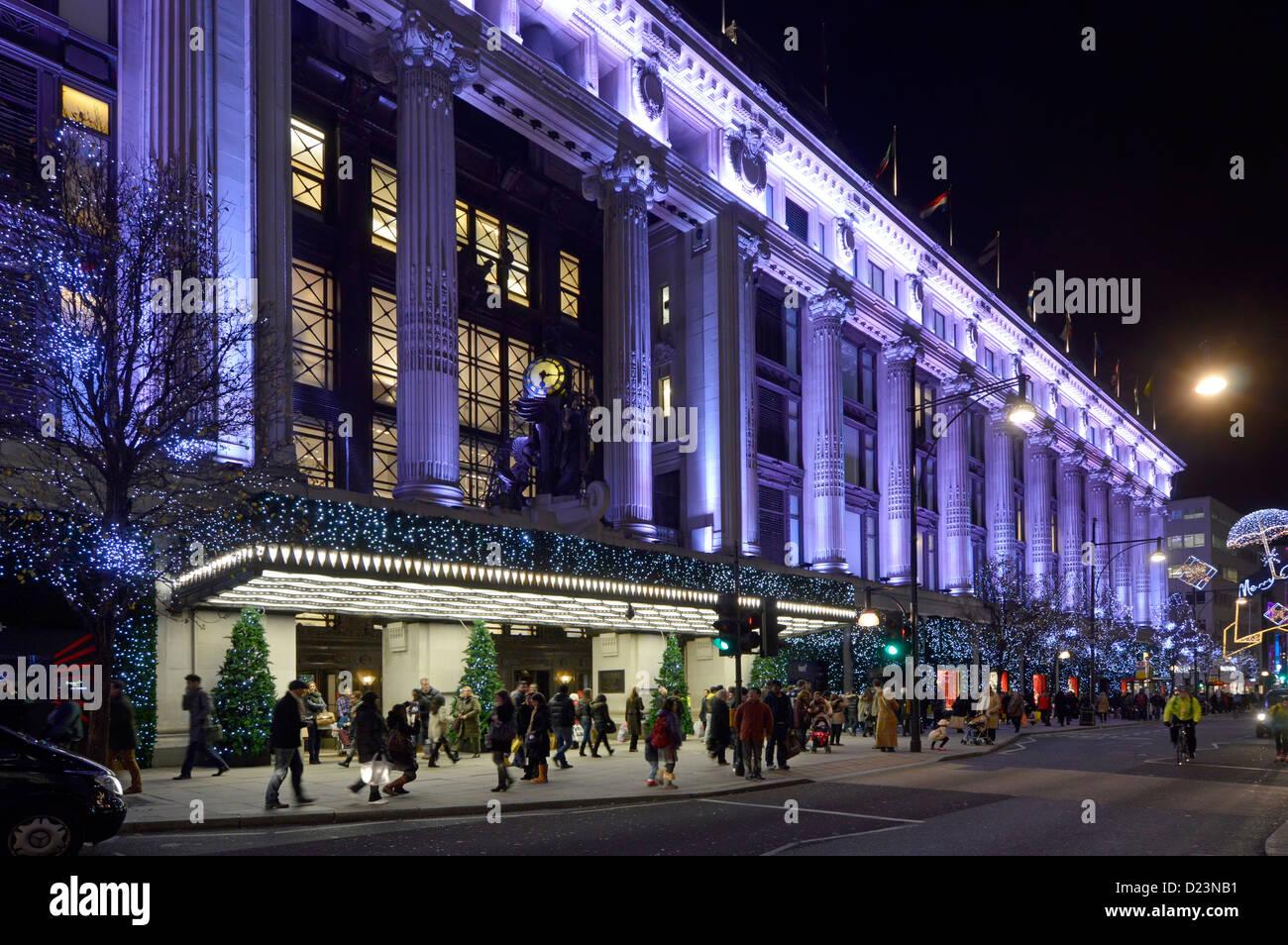Selfridges department store christmas lights - Stock Image