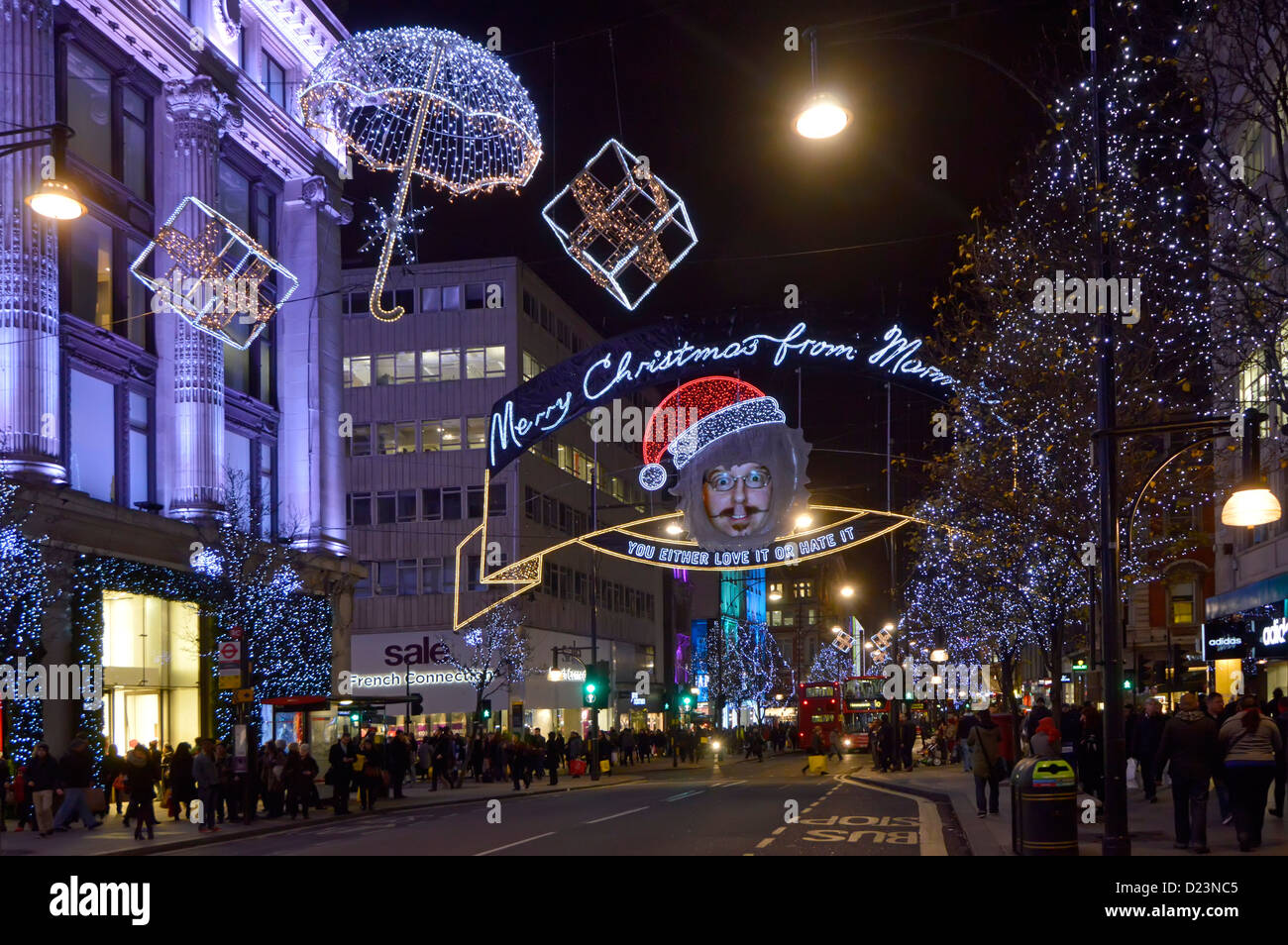 product advertisement for Marmite in Oxford Street Christmas decorations - Stock Image