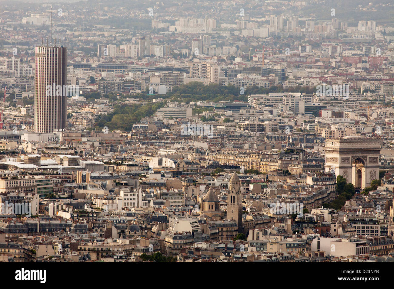 L'Arc de Triomphe and the Hotel Concorde La Fayette (tower) in Paris - view from tour Montparnasse - Stock Image