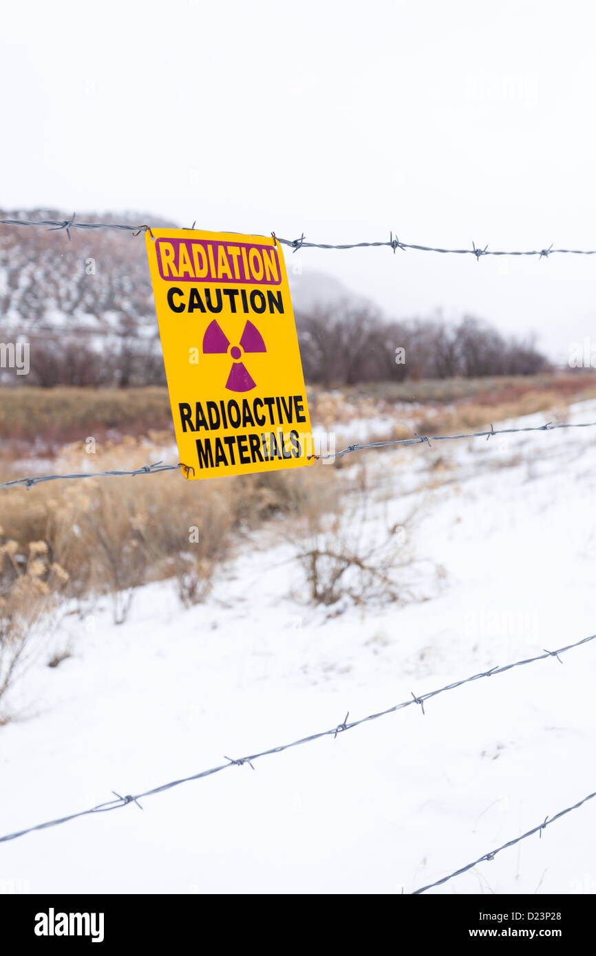 Radiation warning sign at the site of a former uranium processing plant. Uravan, Colorado - Stock Image