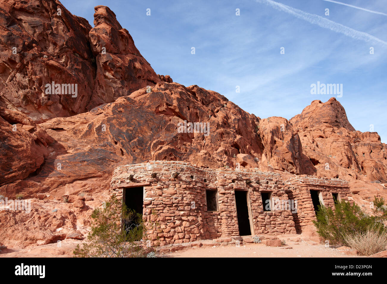 three historic stone cabins built by the civilian conservation corps in the 1930s valley of fire state park nevada - Stock Image