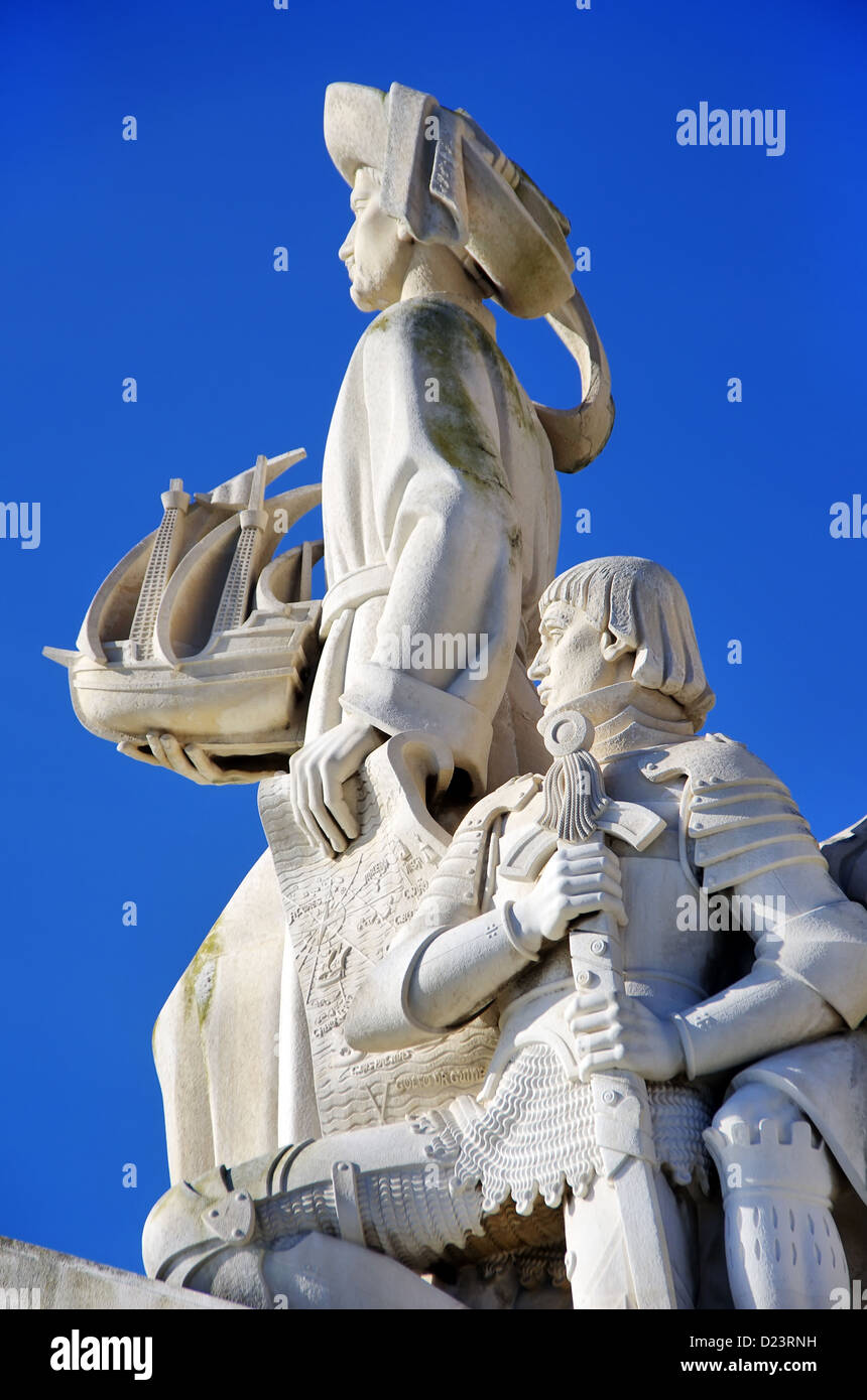 Sculpture on the Discoveries monument in Lisbon, Portugal - Stock Image
