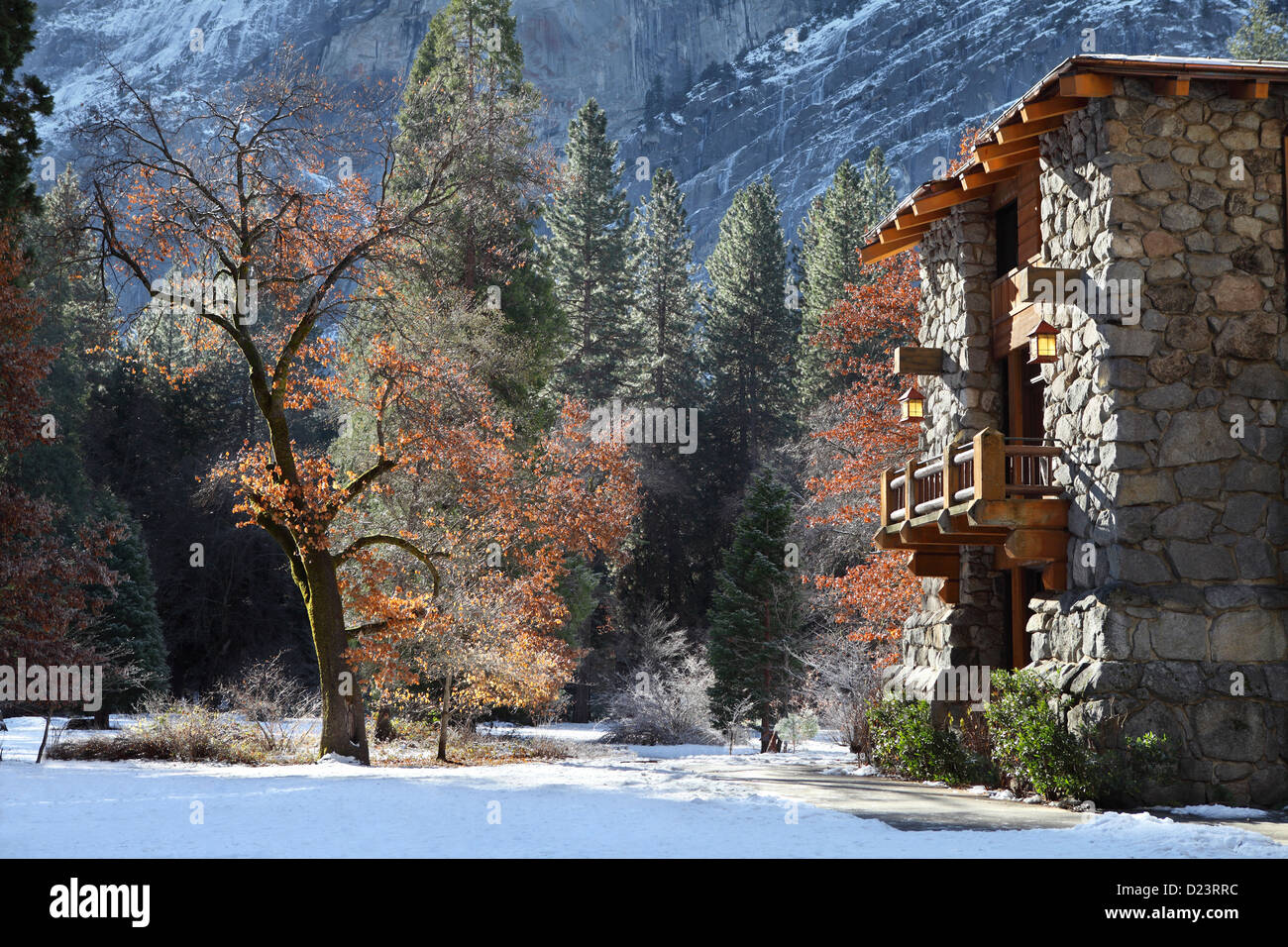 Ahwahnee hotel exterior in Yosemite, California - Stock Image