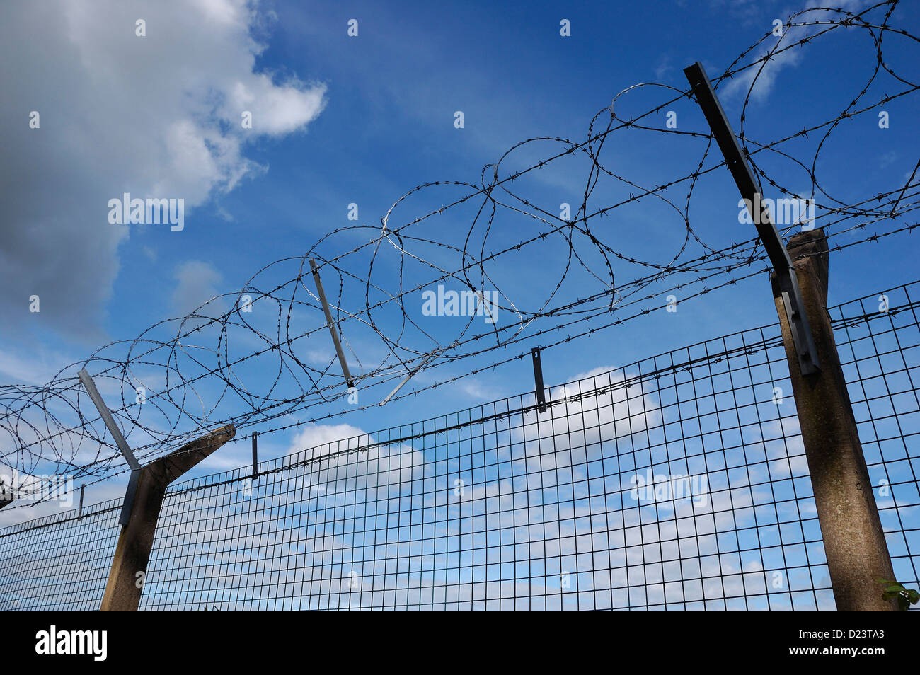 Security fencing with razor-wire against a blue and cloudy sky - Stock Image
