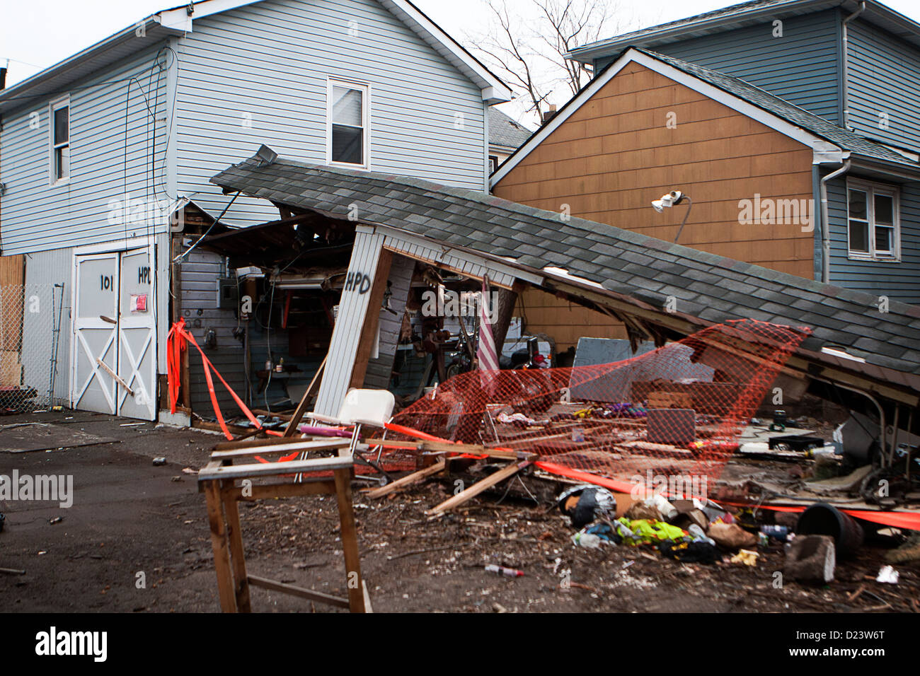 part of a house totaled after Hurricane Sandy - Stock Image