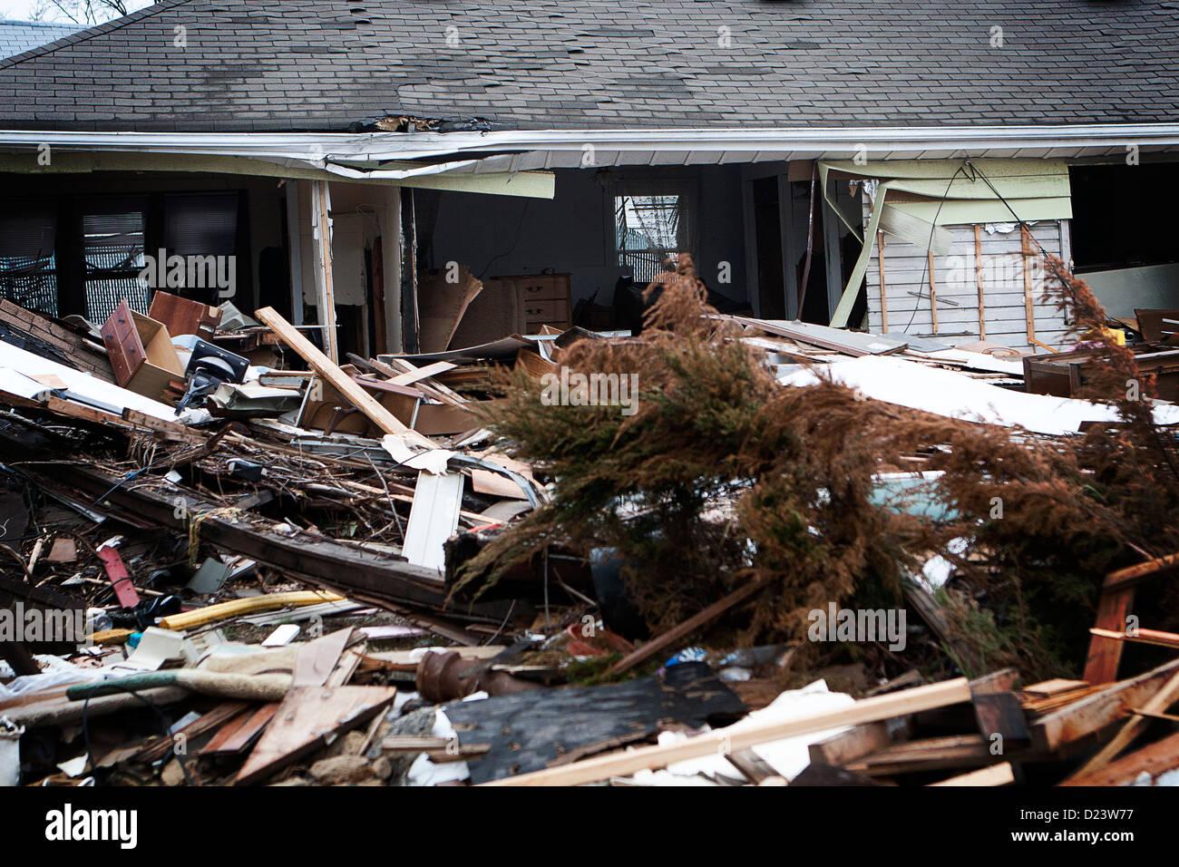 Devastation still felt in New Dorp Beach, Staten Island, 75 days after Hurricane Sandy. - Stock Image