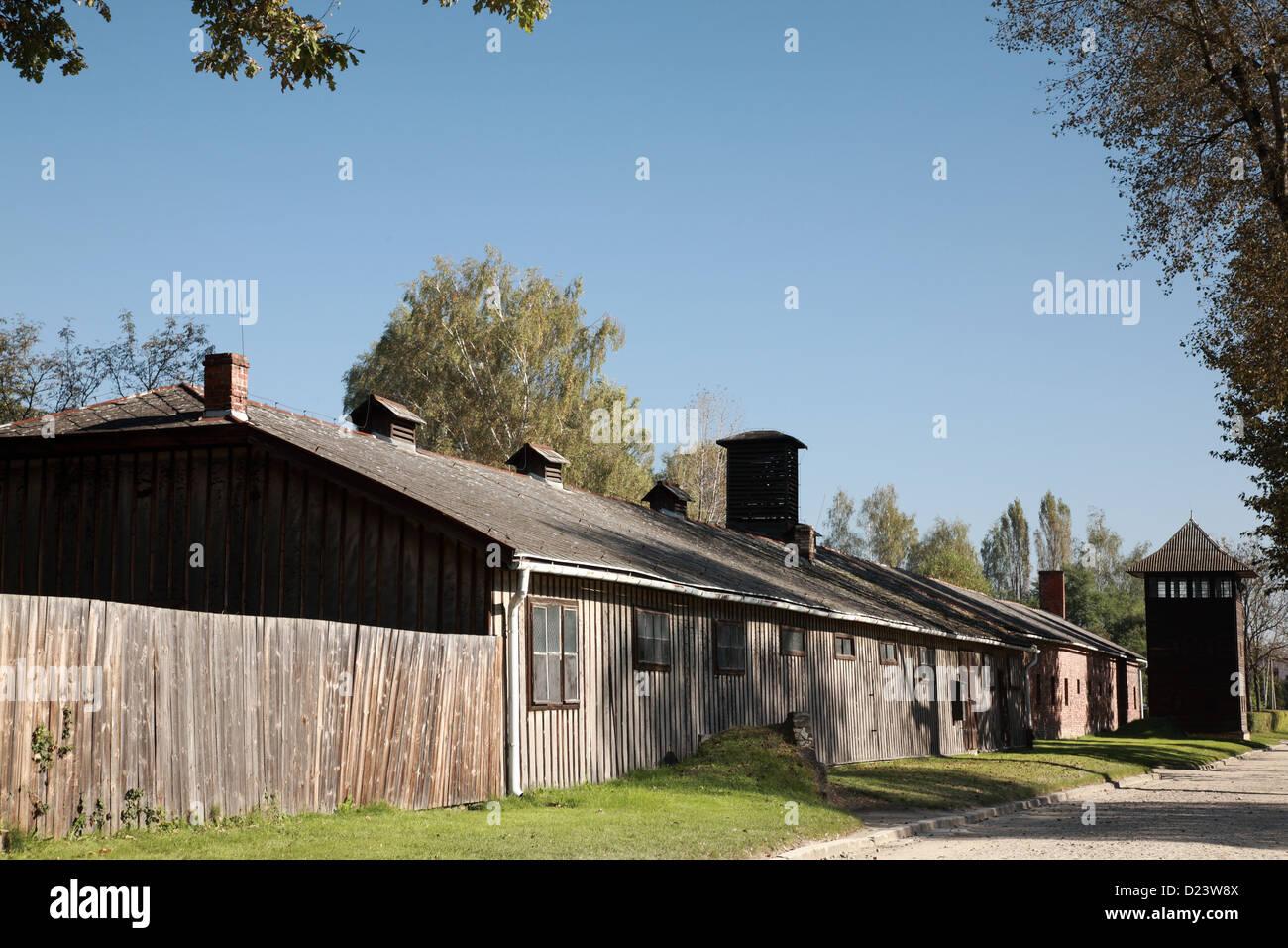 Wooden barrack Auschwitz-Birkenau concentration camp, Poland - Stock Image