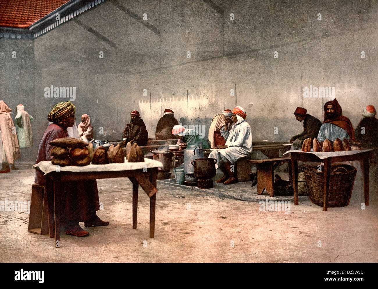 Merchants of eatables, Bona, Algeria, circa 1899 - Stock Image
